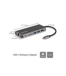 Docking Station para Portátiles USB-C - Replicador de Puertos USB Tipo C HDMI Red Ethernet Lector SD - DKT30CSDHPD
