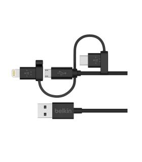 Cable Universal Belkin Con conectores Micro-USB/USB-C y Lightning - F8J050BT04-BLK