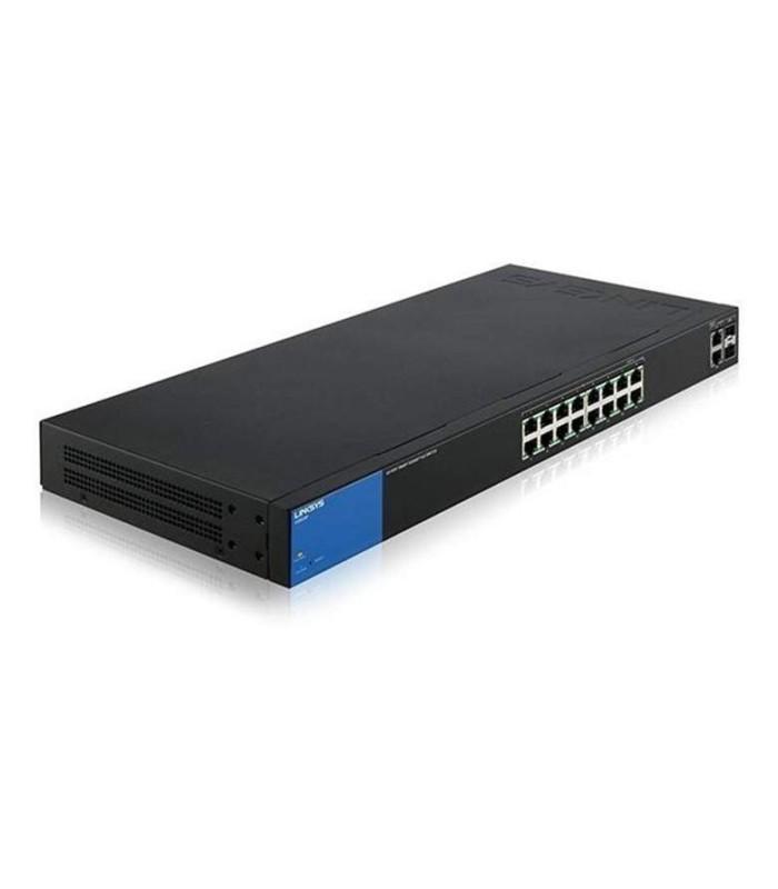 Smart switch Gigabit PoE+ (125 W) Linksys LGS318P de 16 puertos con 2 puertos Gigabit y 2 puertos SFP