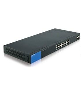Smart switch Gigabit PoE+ (125 W) administrado Linksys LGS318P de 16 puertos con 2 puertos Gigabit y 2 puertos SFP